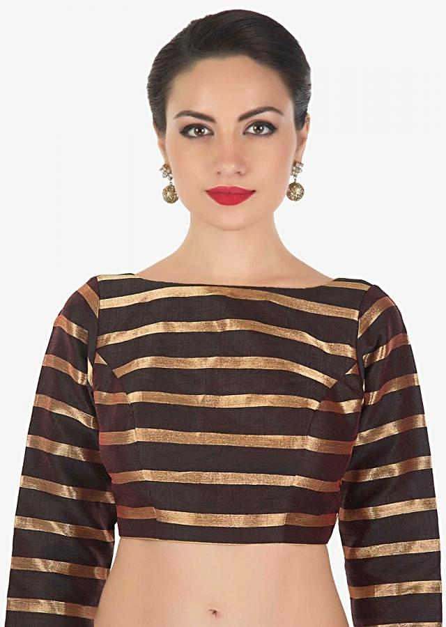 Black blouse in silk with copper color weave in stripes motif only on Kalki
