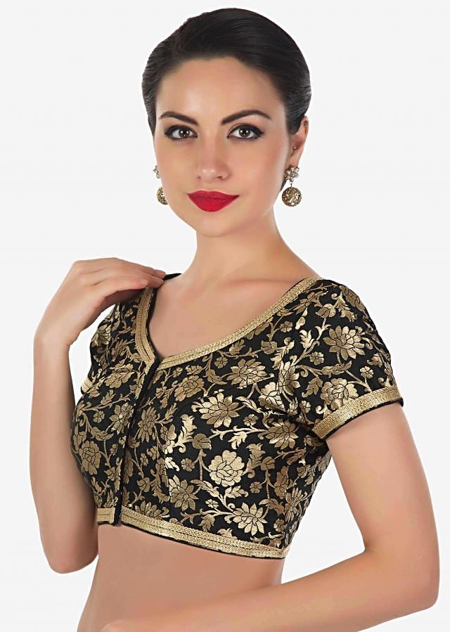 Black brocade blouse features with gold  lace only on Kalki