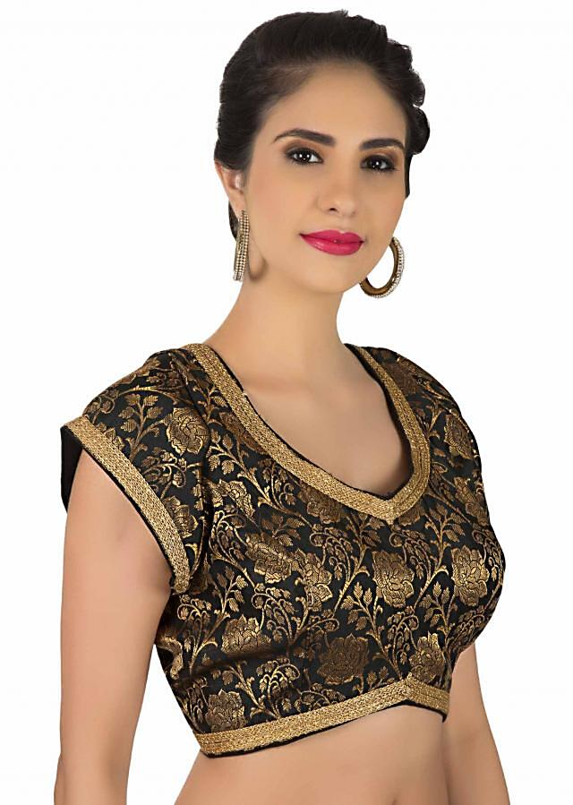 Black brocade blouse with lace piping only on Kalki
