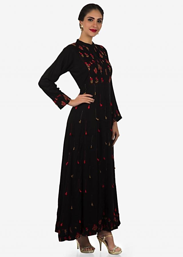 Black cotton long dress embellished in thread and tassel work only on Kalki