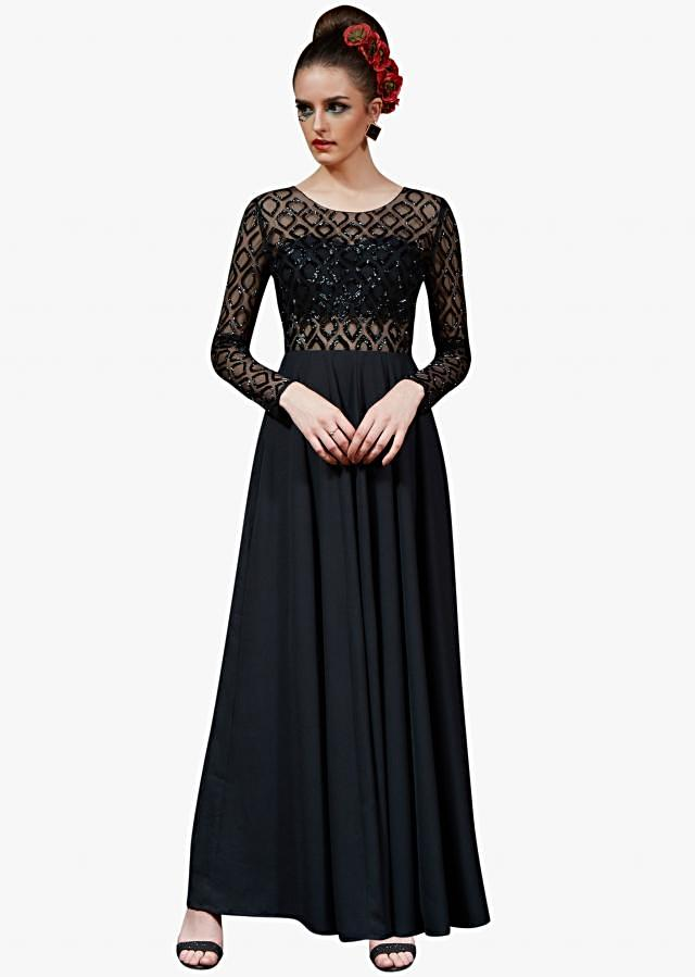 Black crepe gown embellished in sequin embroidery work