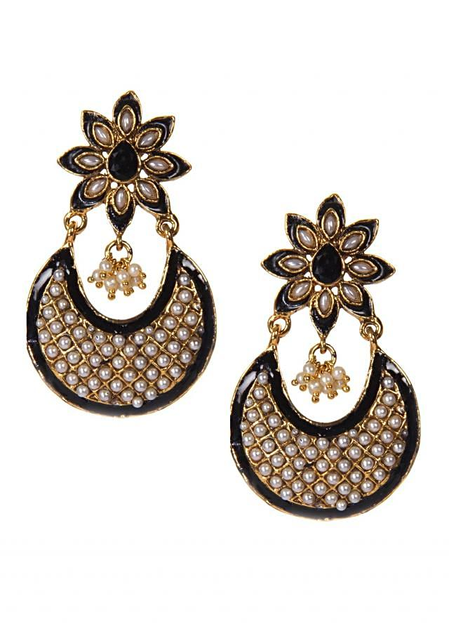 Black Earrings Embellished In White Moti Work only on Kalki