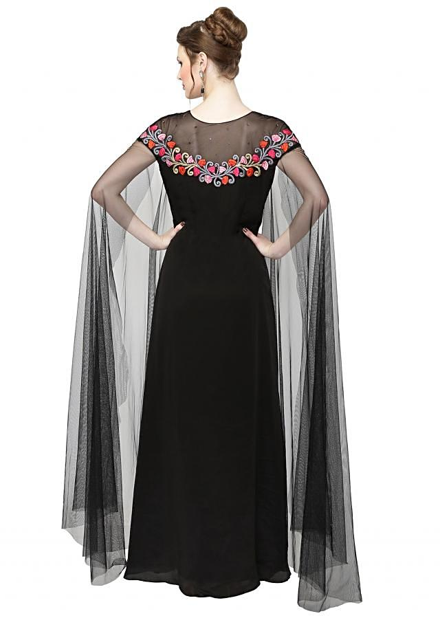 Black Georgette Gown with Resham Embroidered Neckline only on Kalki