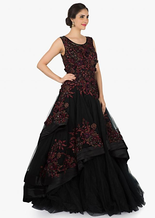 Black gown in net beautified with resham and 3D flowers only on Kalki