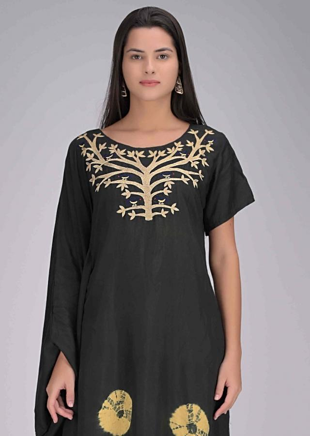 Black Half Kaftan Tunic In Cotton Online - Kalki Fashion