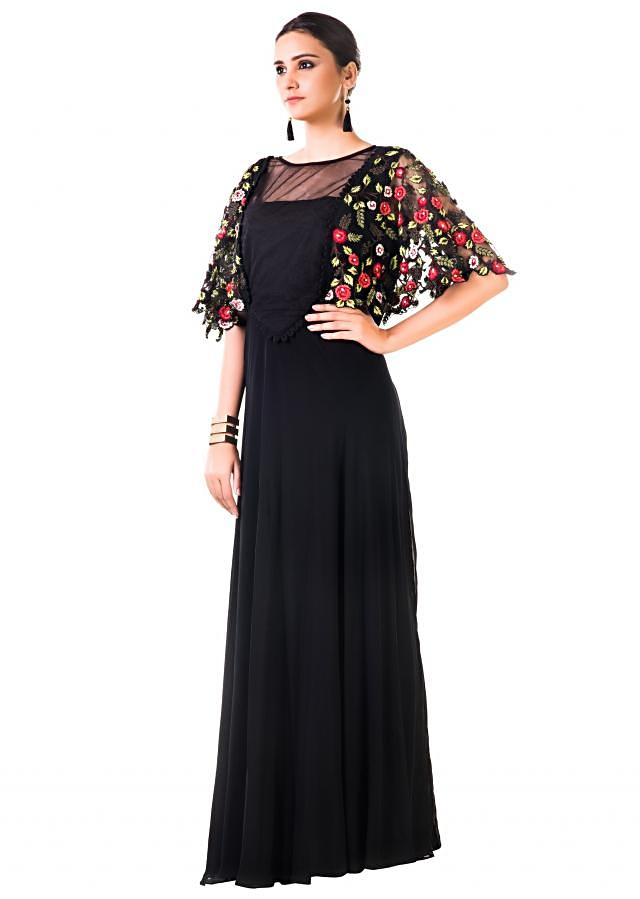 Black Gown With Hand Embroidered Cape Style Online - Kalki Fashion