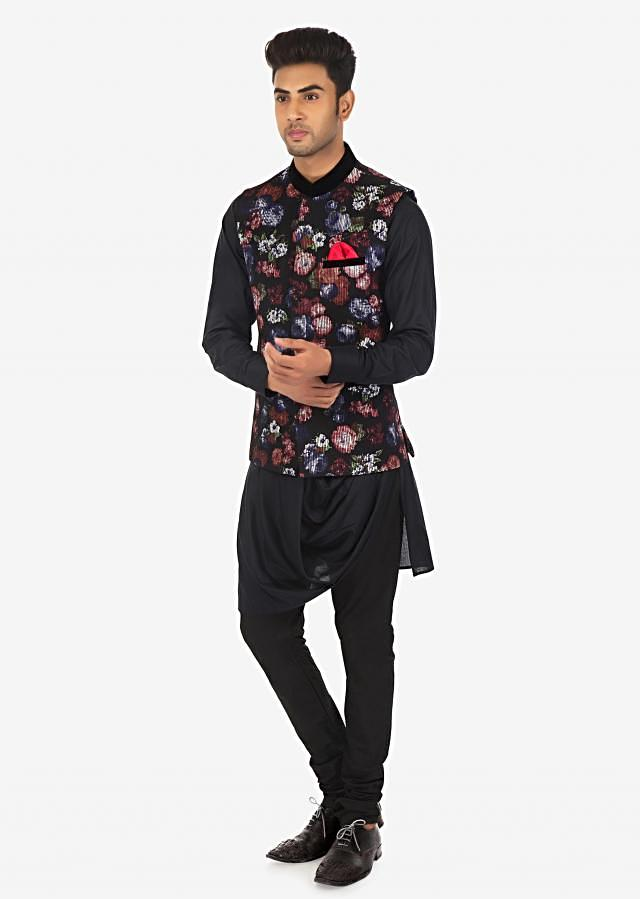 Black Kurta, Churidar and Floral Print Vest Coat Set on Kalki