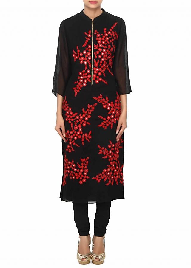 Black kurti embellished in thread and mirror embroidery only on Kalki