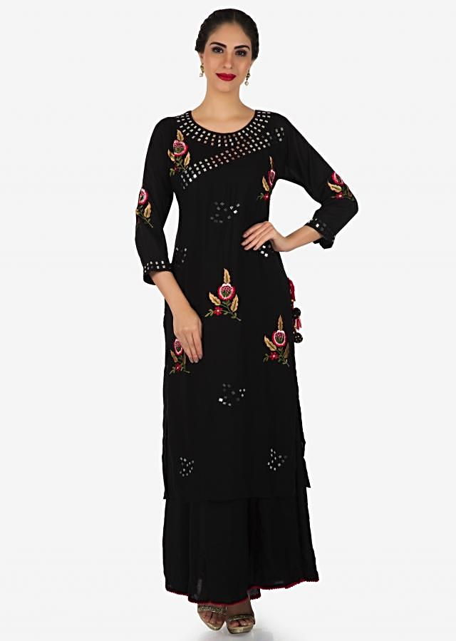 Black long tunic in cotton silk with resham and mirror embroidery only on Kalki