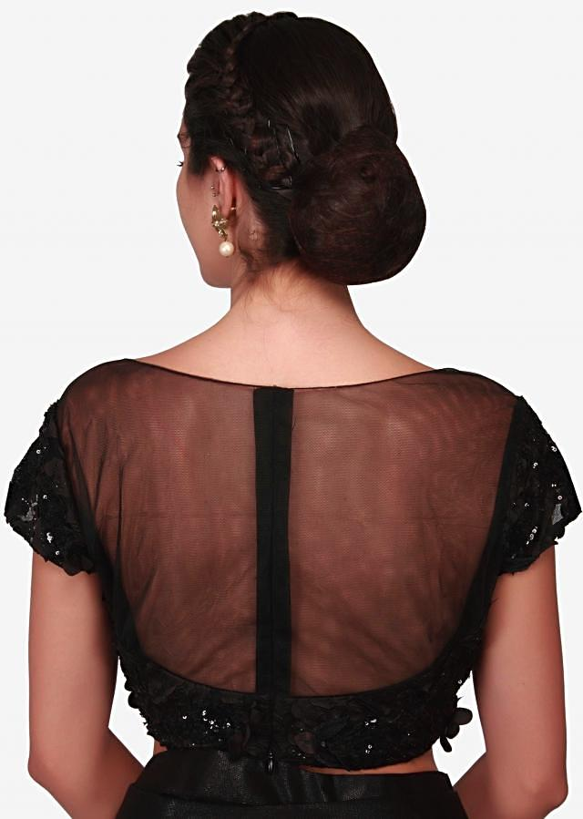 Black ready pleated saree with 3D flower embroidery only on Kalki