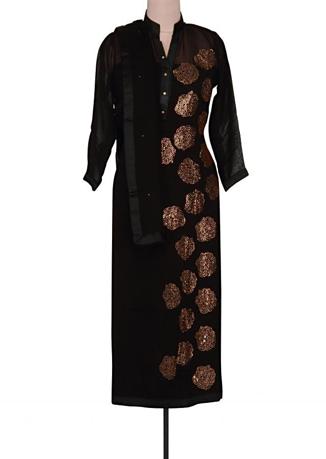 Black semi stitched suit adorn in kundan embroidery only on Kalki