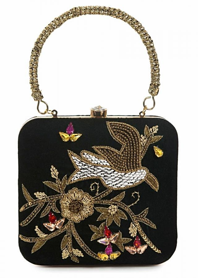 Black sequins and cutdana clutch in floral and bird motif