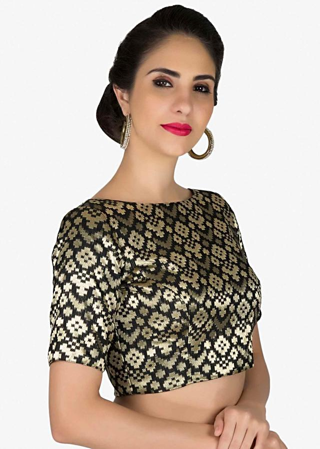 Black Silk Brocade Readymade Blouse only on Kalki