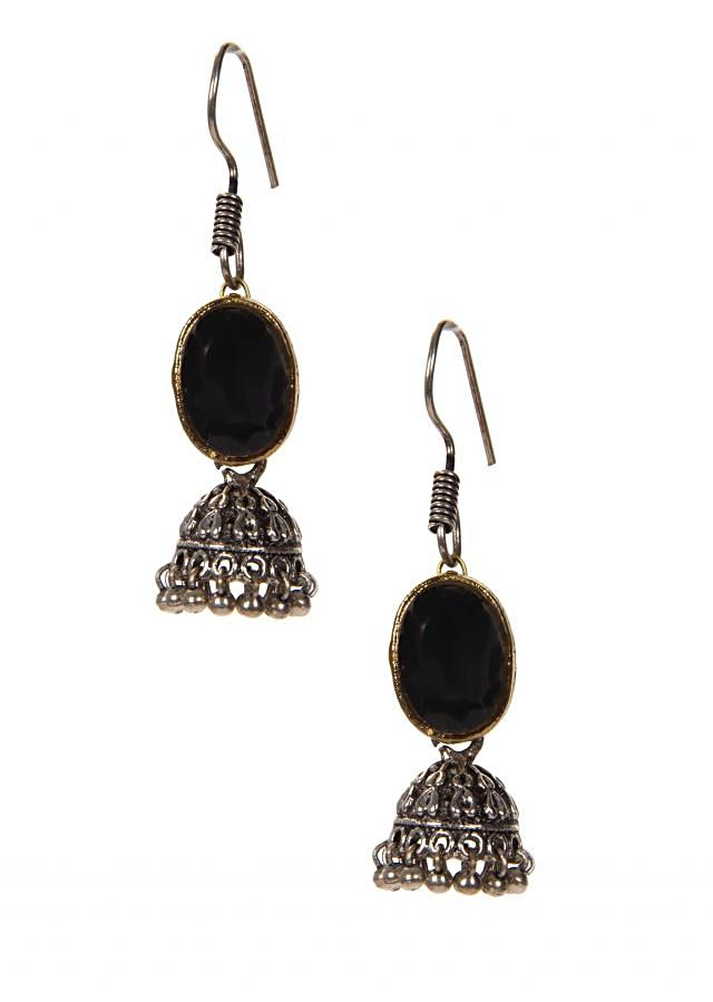 Black Stone Earrings With Attached Silver Jhumkas In Hanging Moti only on Kalki
