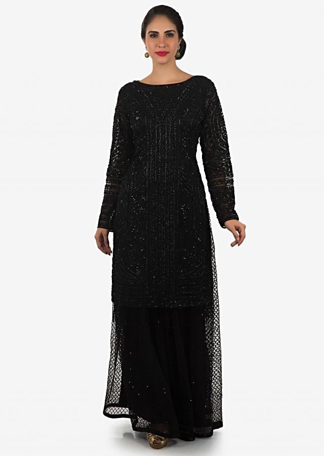 Black suit matched with skirt in french knot an cut dana embroidered net only on Kalki
