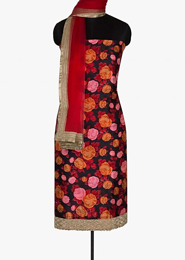 Black unstitched suit enhanced in rose motif print only on Kalki