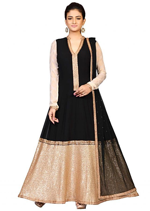 Black zari suit in georgette embellished in heavy sequin embroidery only on Kalki