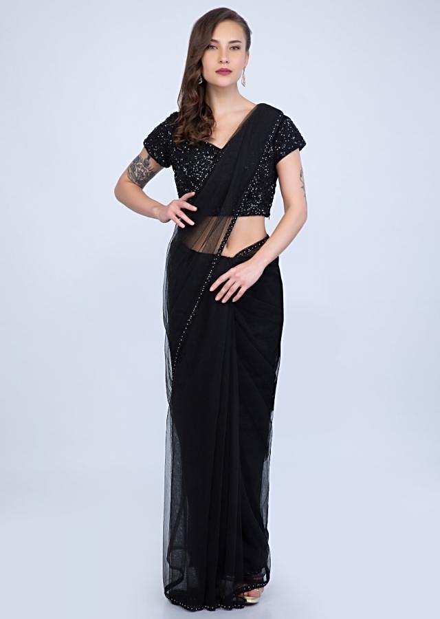 Blazing Black Saree In Sheer Net With Matching Sequins Studded Embroidered Blouse Online - Kalki Fashion