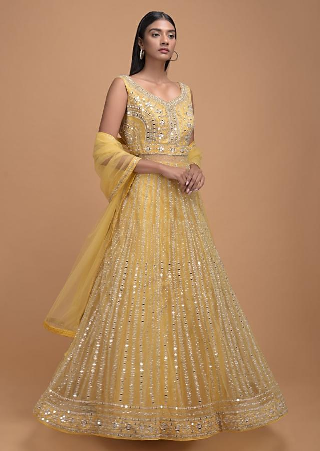 Blonde Yellow Anarkali Suit With Mirror Abla And Kundan Work In Kali Pattern Online - Kalki Fashion