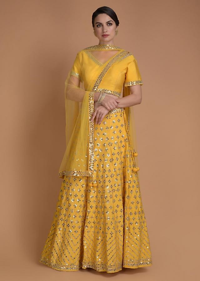 Blonde Yellow Lehenga Choli With Mirror Abla Work In Floral Buttis Online - Kalki Fashion