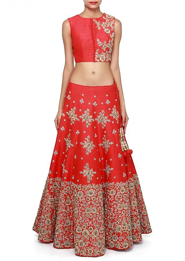 Blood lehenga features with moti and zari embroidery only on Kalki