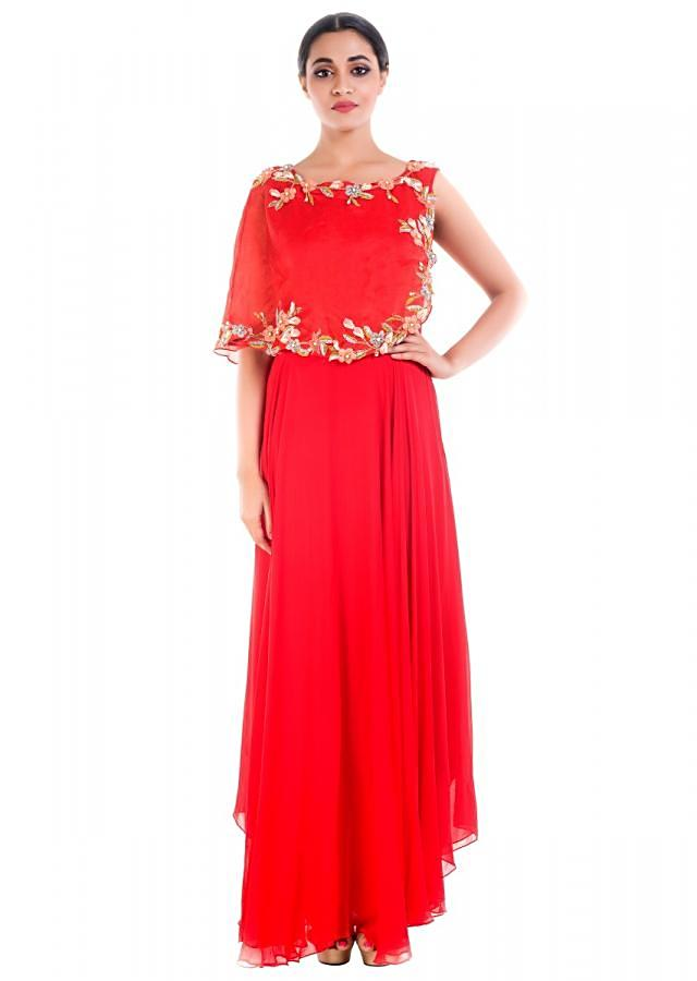 Blood Red Cape Gown Online - Kalki Fashion