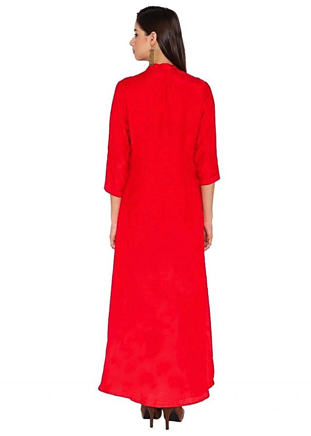 Blood Red Cotton Kurti With Bluish Purple Thread-Embroidery On The Top Portion And Waist-Long Slit In The Middle Only On Kalki