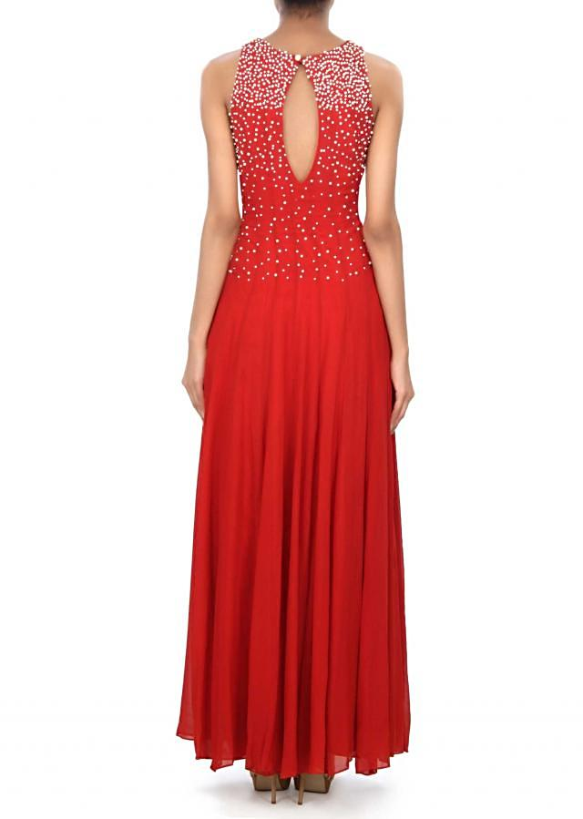 Blood red gown enhanced in pearl embroidery only on Kalki