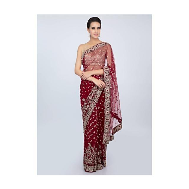 Blood red hard net saree with embroidered butti and  border only on kalki