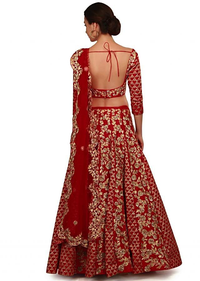 Blood red lehenga in gota lace and zari embroidery only on Kalki