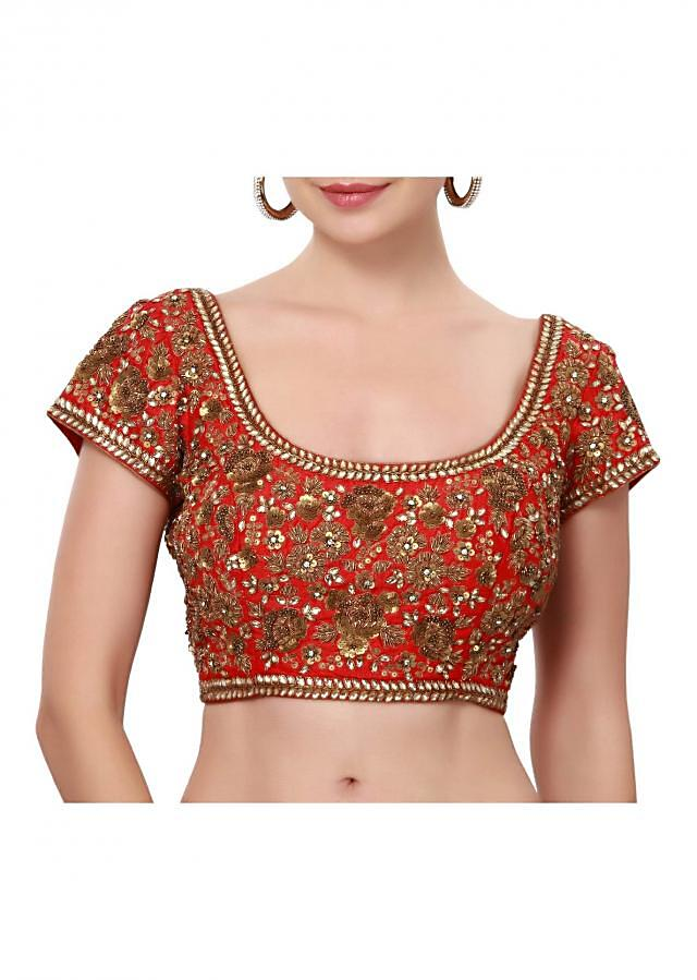 Blood red saree blouse adorn in kundan and sequin embroidery only on Kalki