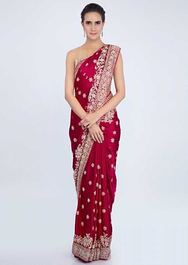 Blood red satin saree with zardosi and zari embroidered butti and border only on kalki