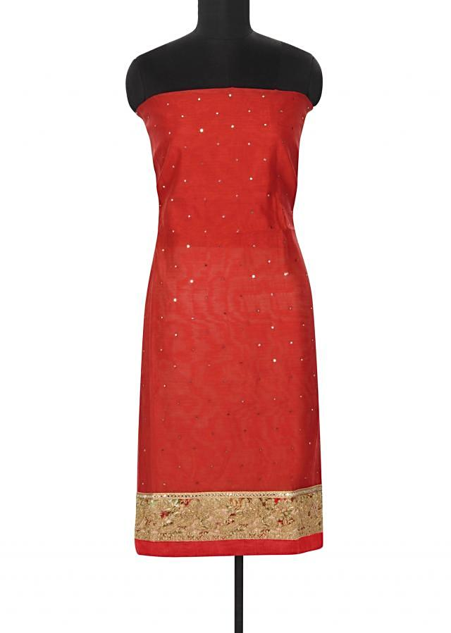 Blood red unstitched suit enhanced in printed zari border