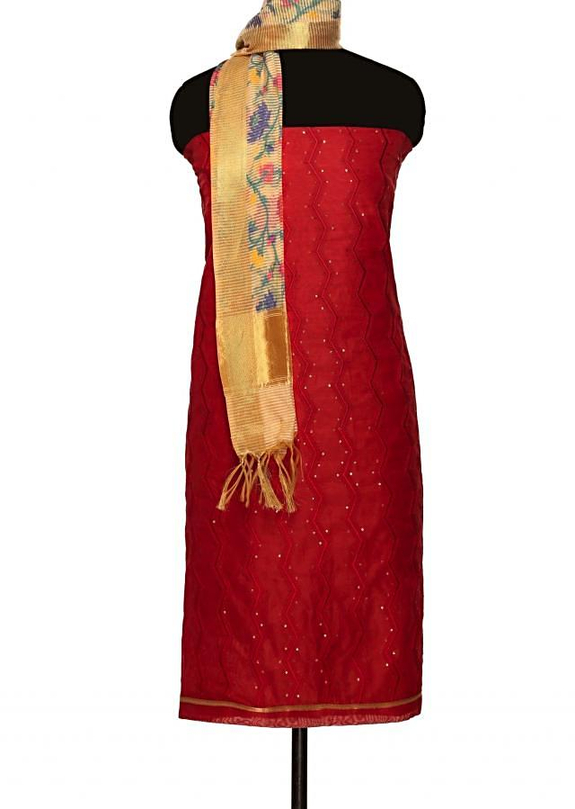 Blood red unstitched suit with floral motif dupatta only on Kalki