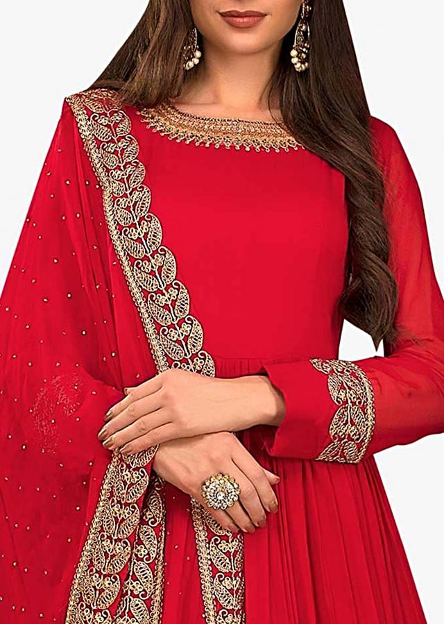 Blood red anarkali suit in georgette with embroidered neckline and hem