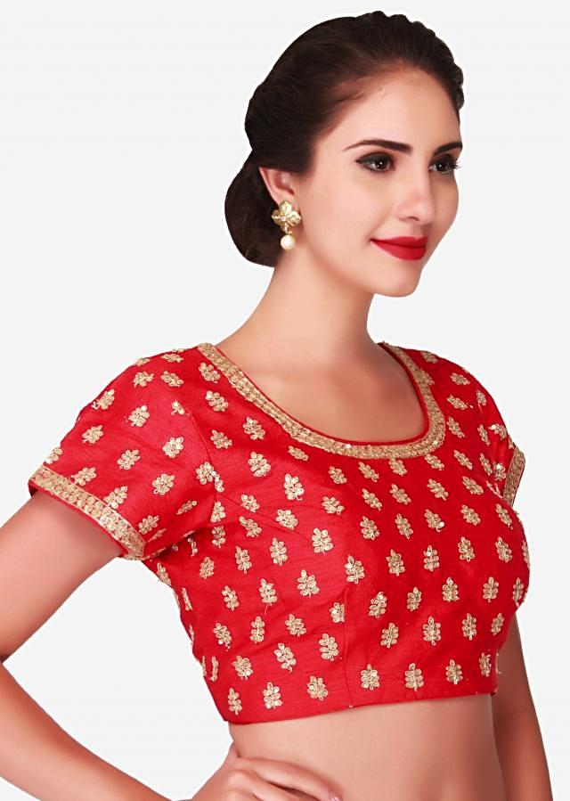 Blood red blouse adorn in sequin and zari embroidered butti only on Kalki