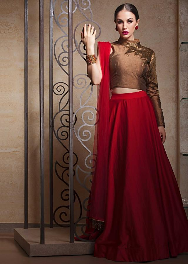 Blood red lehenga in georgette with copper brown fancy blouse in cut dana embroidery