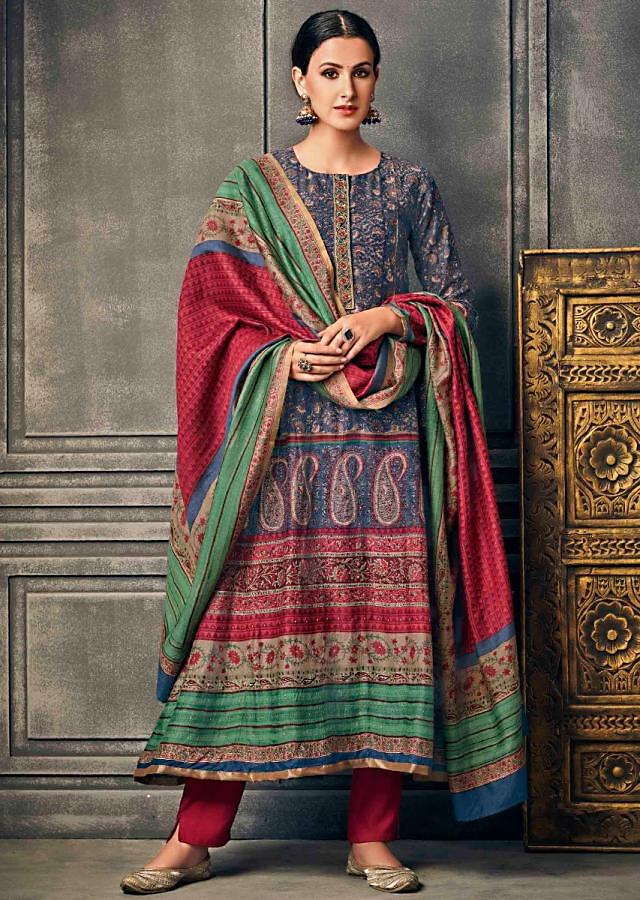 Blue A Line Suit With Floral Print And Zardosi Embroidered Placket Online - Kalki Fashion