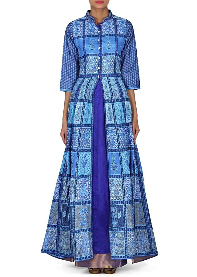Blue A line suit with fancy button and front slit only on Kalki