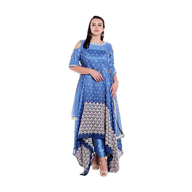 Blue A line suit with fancy hem line and thread embroidery only on Kalki