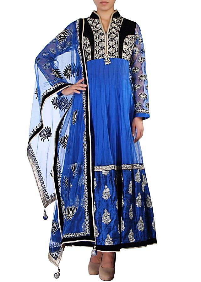 Blue anarkali suit adorn in zari and sequin embroidery only on Kalki