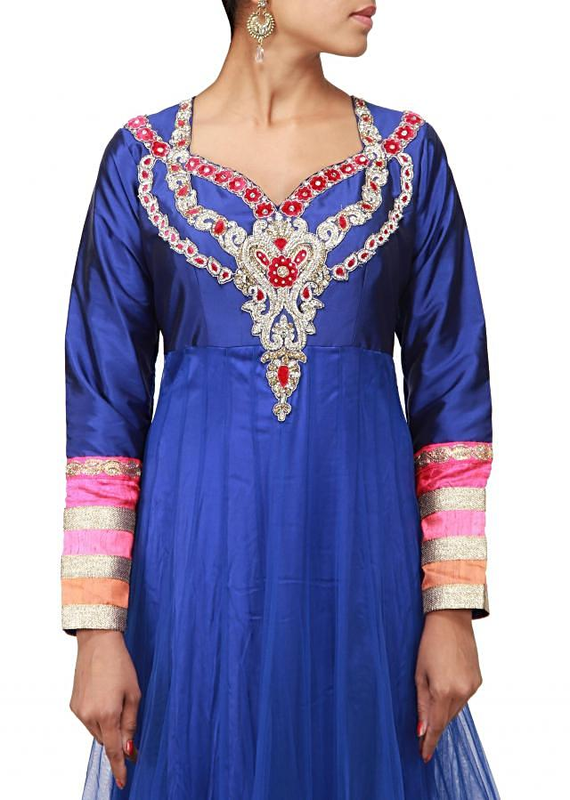 Blue anarkali suit embellished in stone embroidery only on Kalki