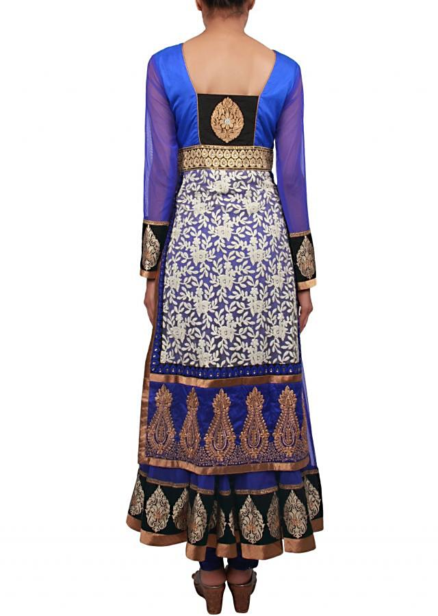 Blue anarkali suit embellished in zari and thread embroidery only on Kalki