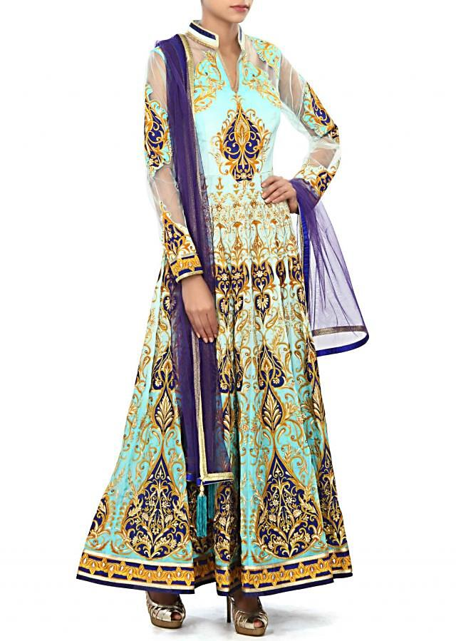 Blue anarkali suit embellished in zari embroidery only on Kalki