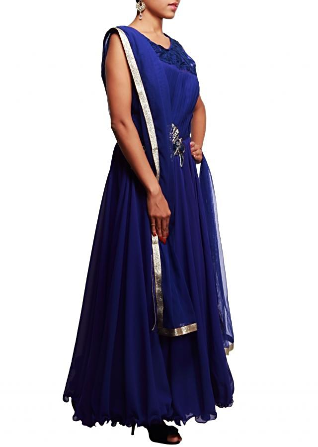 Blue anarkali suit enhanced with pleats and embroidered butti only on Kalki