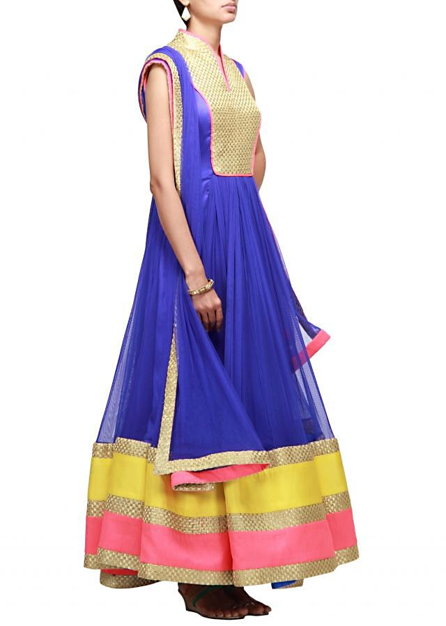 Blue anarkali suit highlighted in zari embroidery