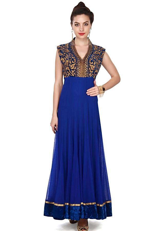 Blue anarkali suit in embroidered yoke only on Kalki