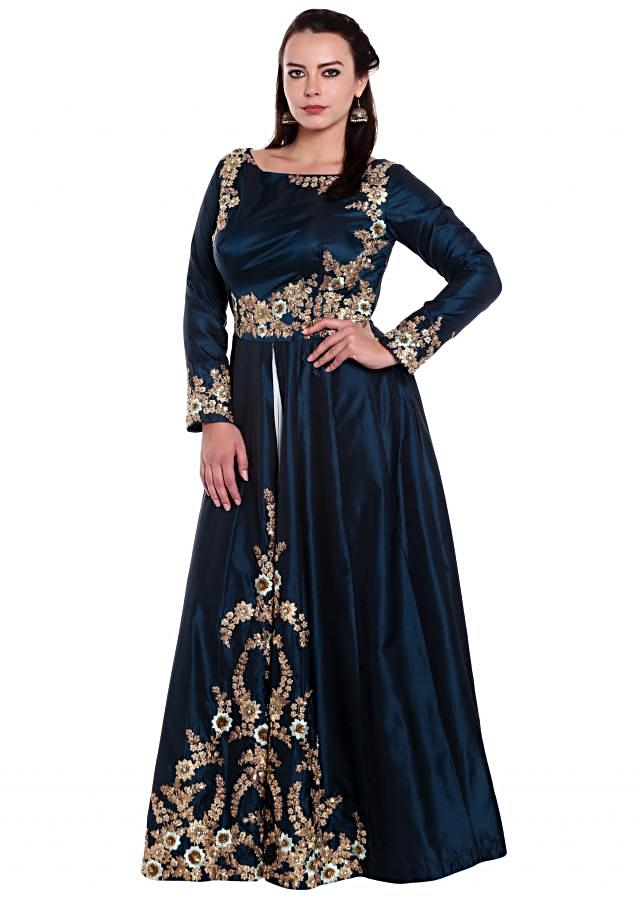Blue anarkali suit in silk with embroidered bodice and front slit only on Kalki