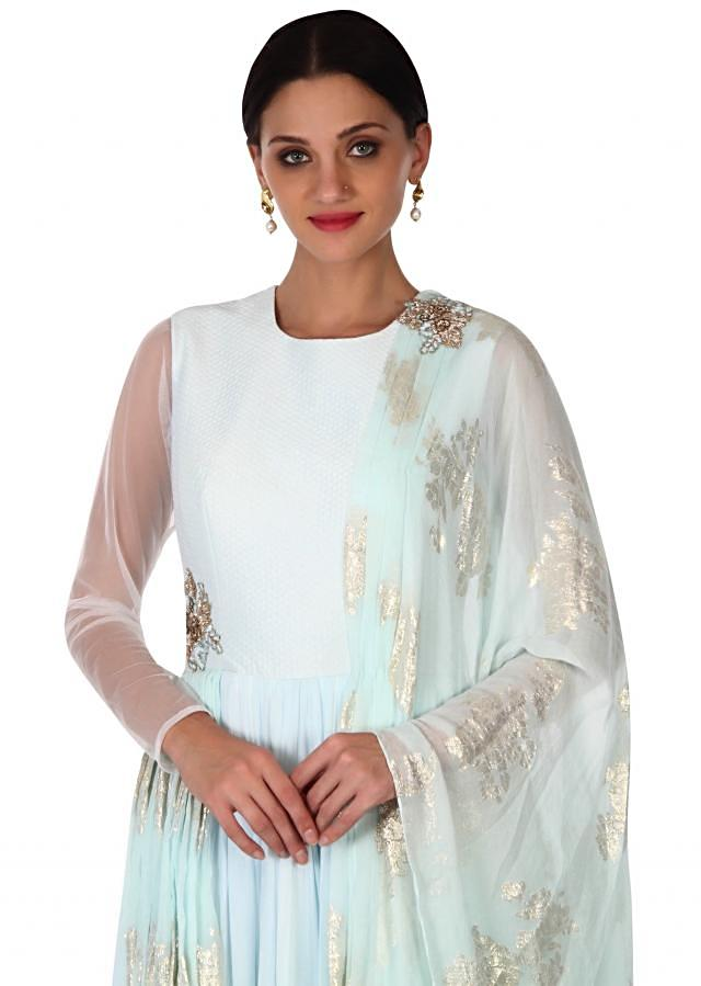 Blue anarkali suit with attached dupatta only on Kalki