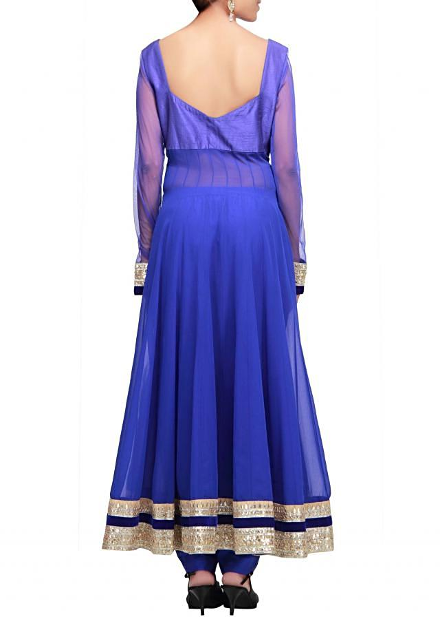 Blue anarkali suit with bodice embellished in pearl and gotta patti only on Kalki